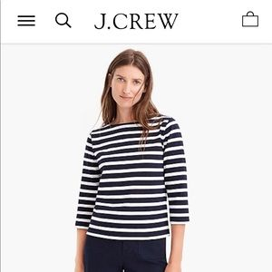J Crew Boat Neck Structured  Striped Shirt—XL